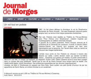 Journal de Morges (sand art Cedric Cassimo)